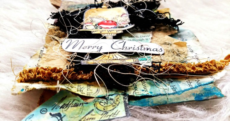 Christmas In A Cloche: Mixed Media Postcard