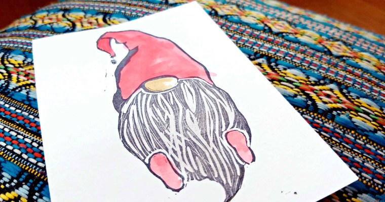 Thank You Gnome: Hand Carved Stamp