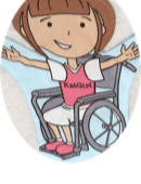 KatGirl Logo is Kat in a wheelchair, arms open in offered embrace
