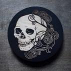 Art Nouveau Skull - Wood Coaster