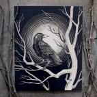 "Raven Moon - 8x10"" Wood Engraving"