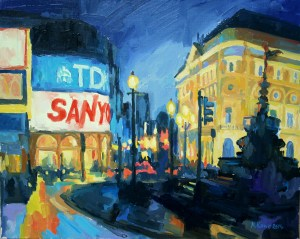Piccadilly circus oil painting study