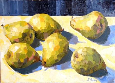 Pears on a table, 36x26cm,  £375 unframed