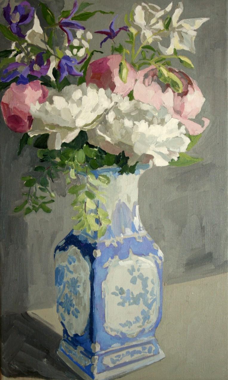 Spring flowers in Chinese vase, 33x55cm unframed, £525