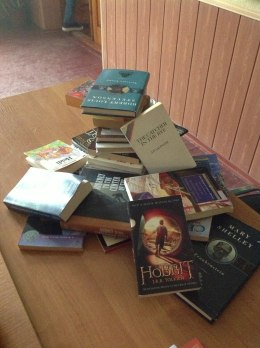 The books were neatly stacked until my 11th formers saw them and attacked!