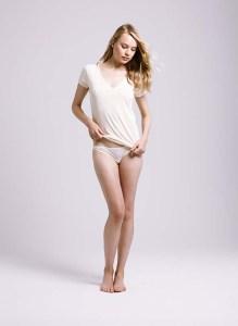 Skin, V Neck Easy T, Bikini with Mesh, Almond Oil