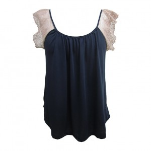 Emilia Lace Sleeve Cami, Midnight Rosette