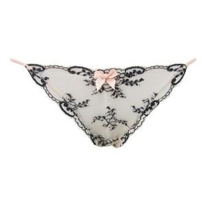Paloma String Thong, Alabaster/Black