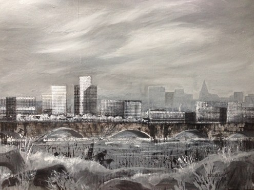 City Dreams mixed media on canvas