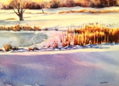 """Winter on the Course • 11"""" x 15"""" • watercolor /140lb. Arches"""