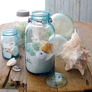 jars of seashells Katherines corner