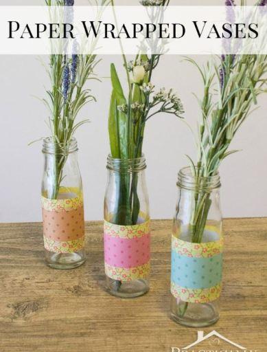 diy paper wrapped vases for spring