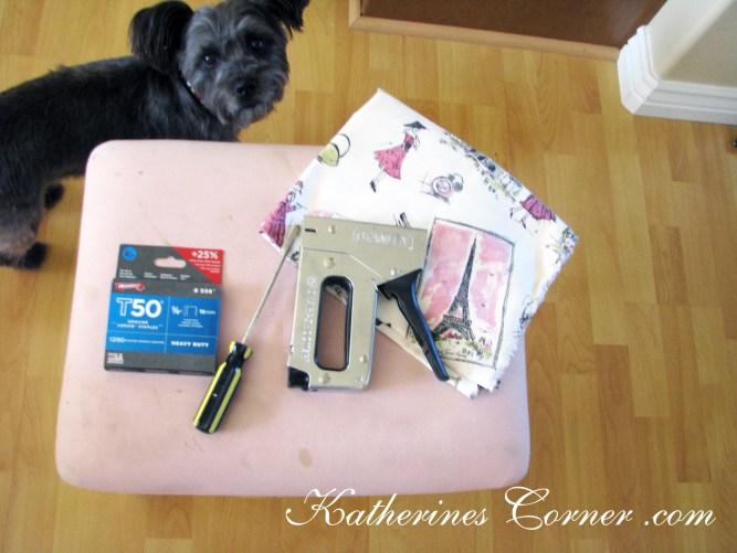 vanity seat makeover supplies