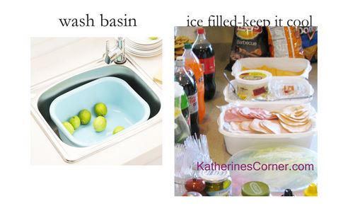 dollar store wash basin filled with ice will keep your party foods cool-Katherines Corner