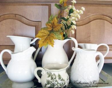 white pitchers Katherines Corner