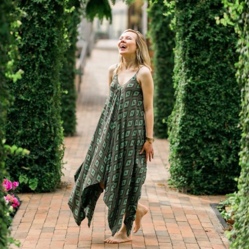 emerald green scarf dress