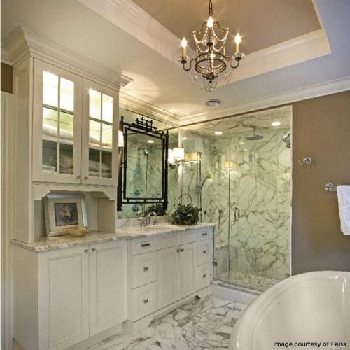 hang a chandelier in the bathroom