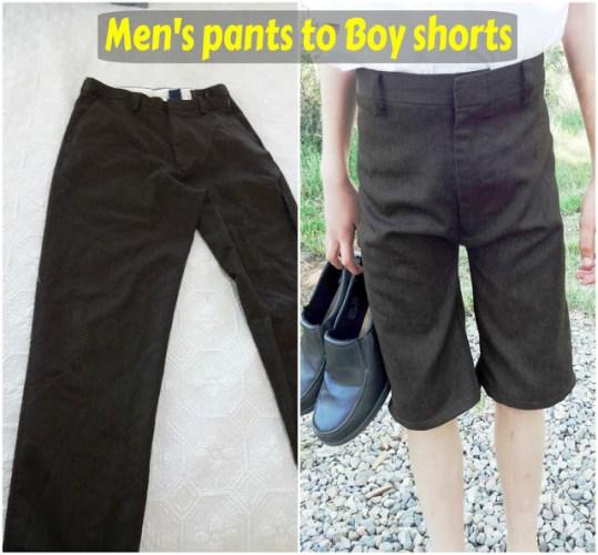 sewing mens pants to boys shorts