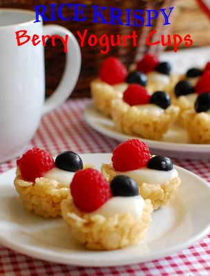 rice krispy berry yogurt cups