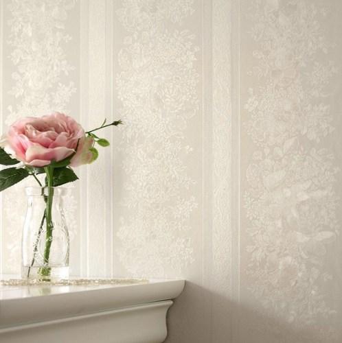 graham and brown floral stripe cream shimmer wallpaper