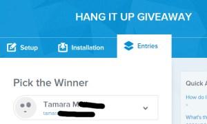 hang it up giveaway winner