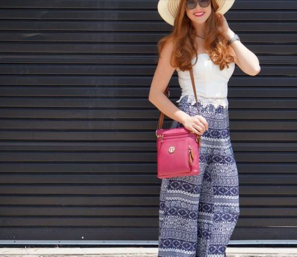 navy and white boho pant