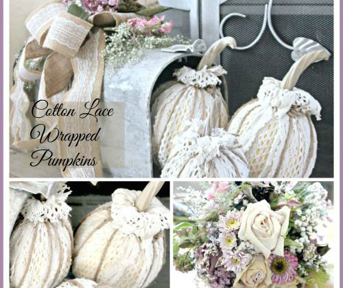 lace wrapped pumpkin decor