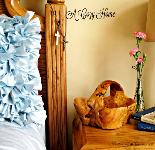 a cozy home flowers on nightstand table