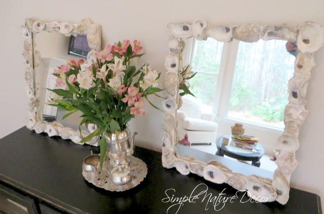 diy oyster shell mirror frame