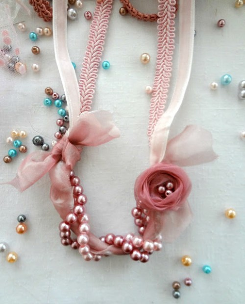 diy pearl ribbon necklace