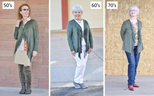 one jacket styled for three different ages