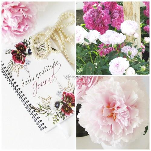 peonies and gratitude journal