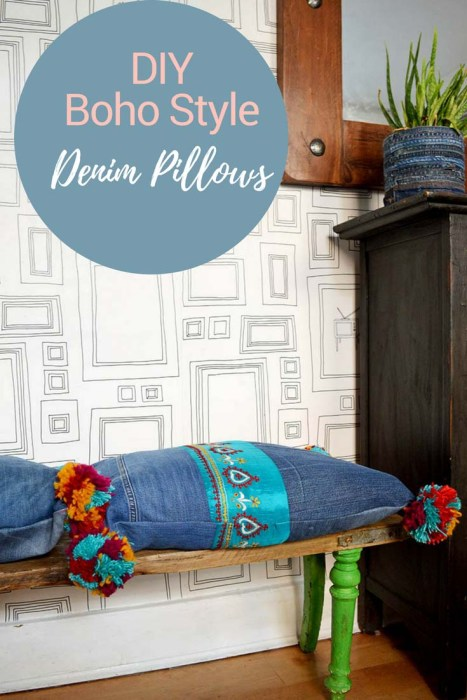 upcycled blue jeans pom pom pillow