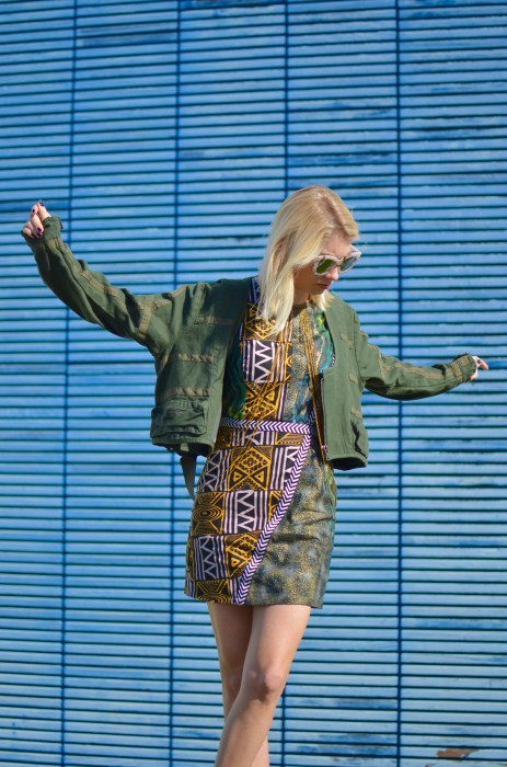 parachute jacket and print dress combination