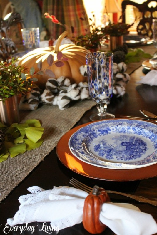 blue and white thanksgiving tablescape