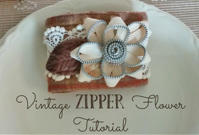 upcycled diy zipper flower bracelet