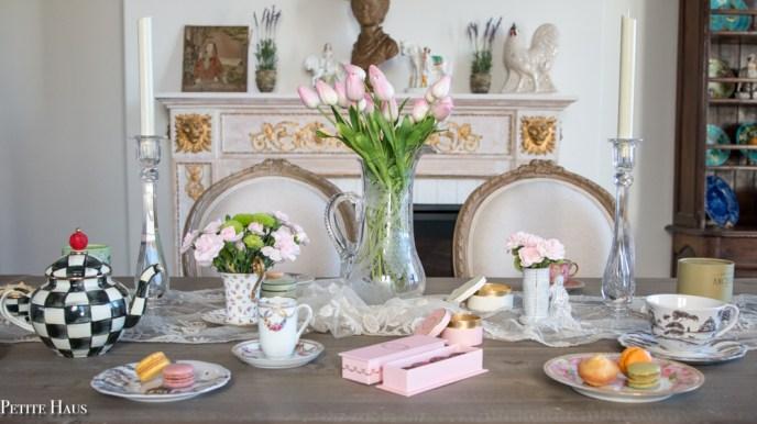 vintage tea party tablescape