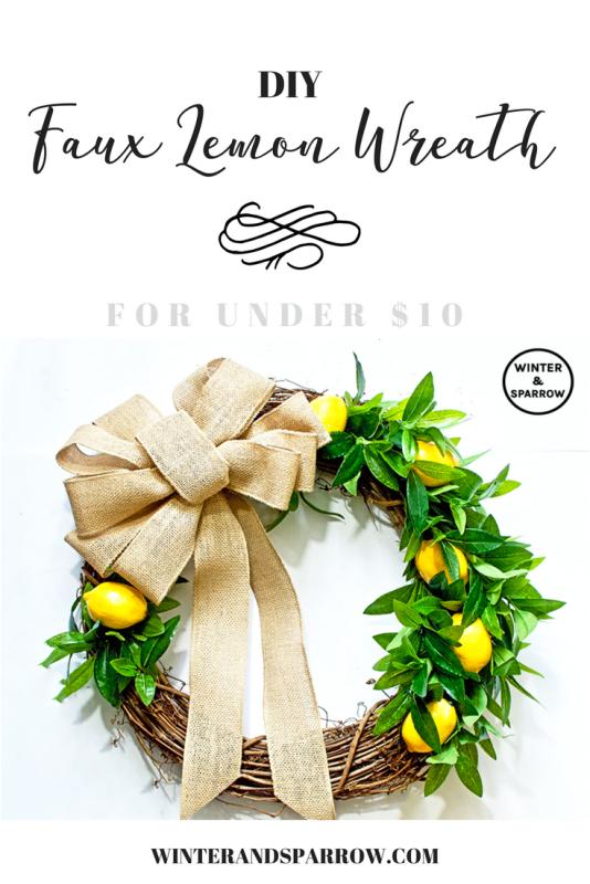 diy spring lemon door wreath