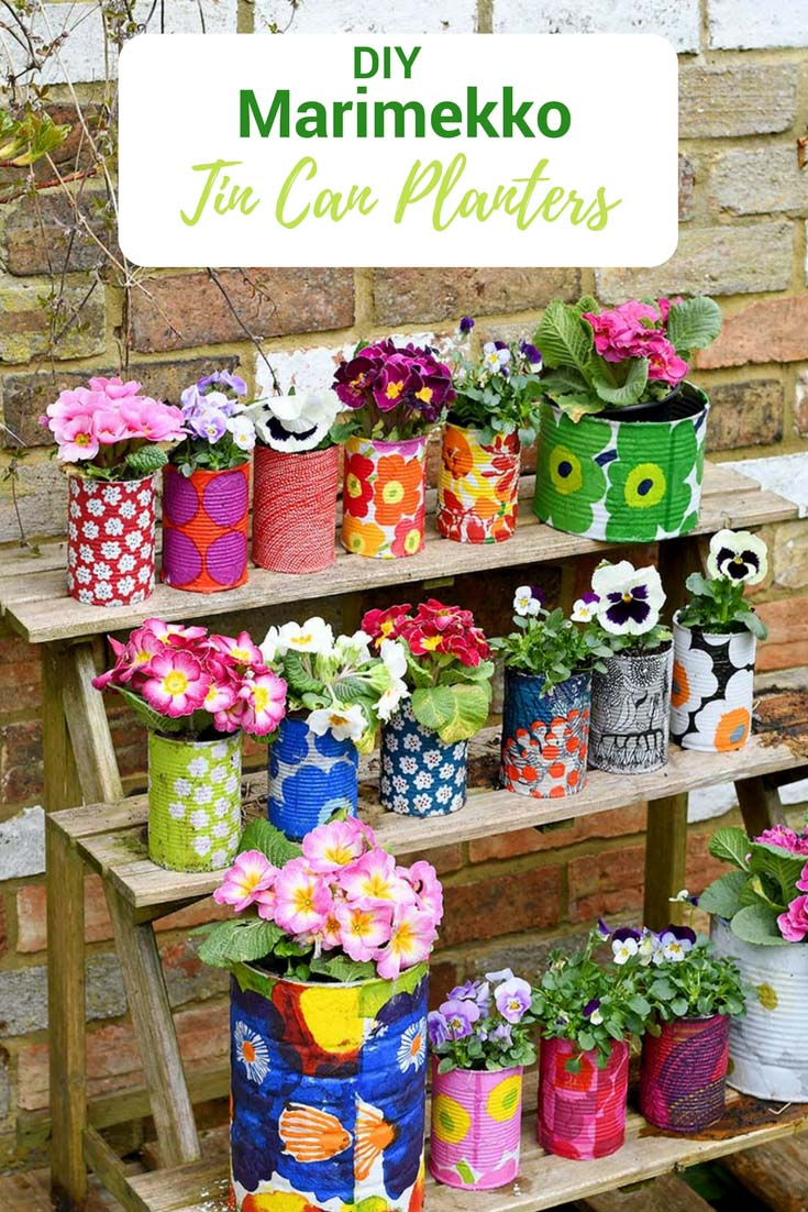 decorative tins planter pots up-cycle