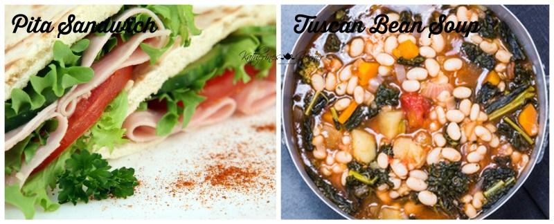 pita sandwich with tuscan bean soup