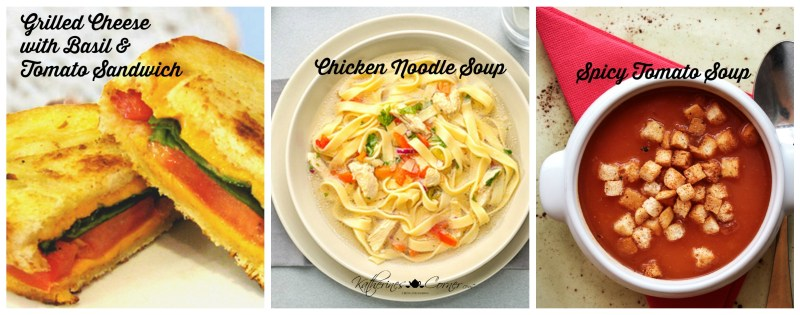 grilled cheese sandwich and chicken noodle or spicy tomato soup