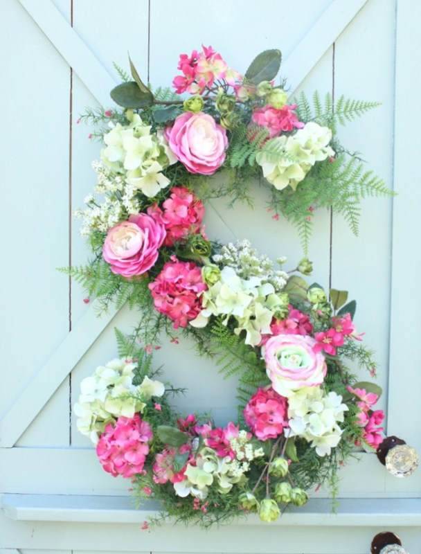 diy monogram floral door decor