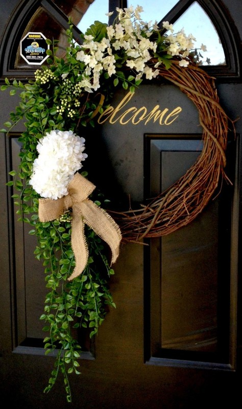 DIY cascading greenery spring wreath