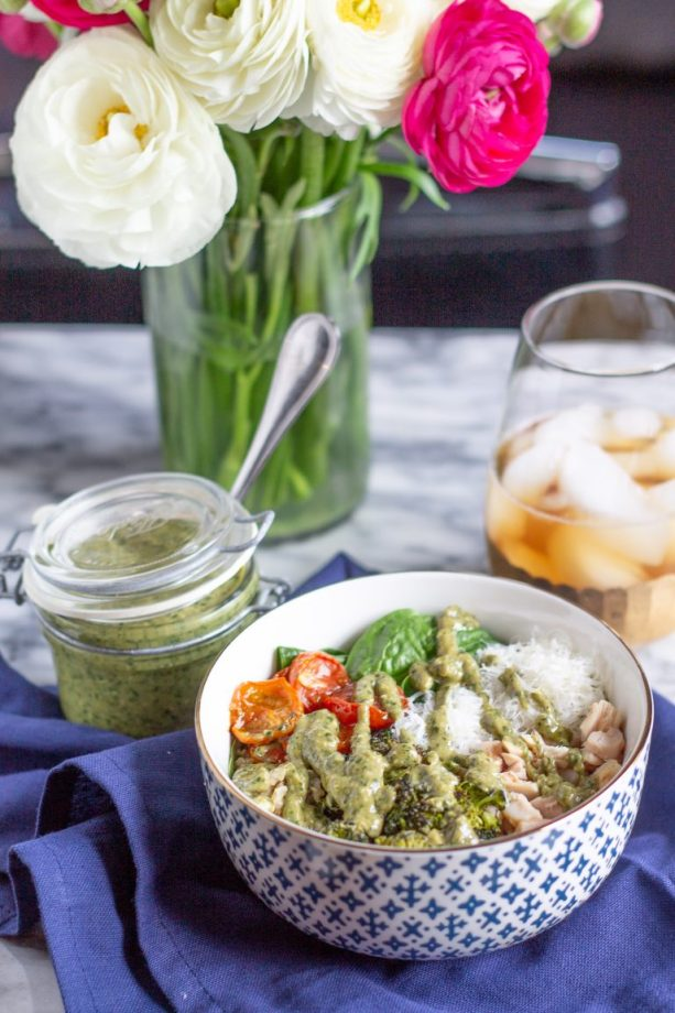 pesto and chicken salad bowls