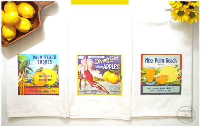 diy crate label Tea Towels
