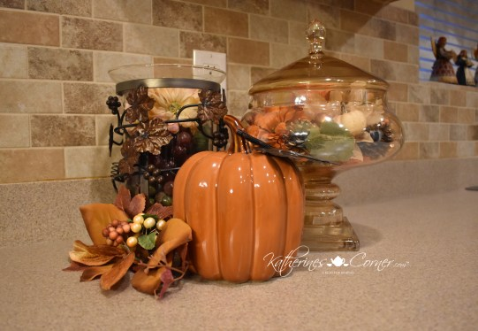 autumn vignette in kitchen