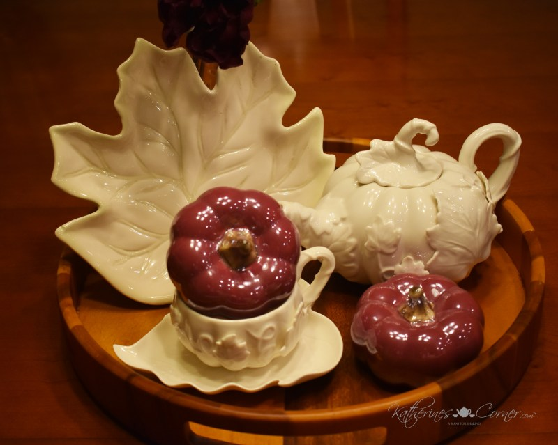 china autumn teapot and teacup and saucer