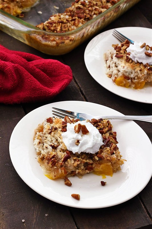 coconut peach crisp