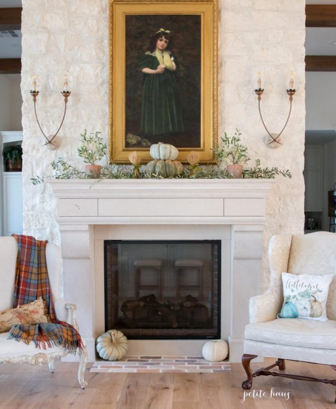 french country autumn mantel