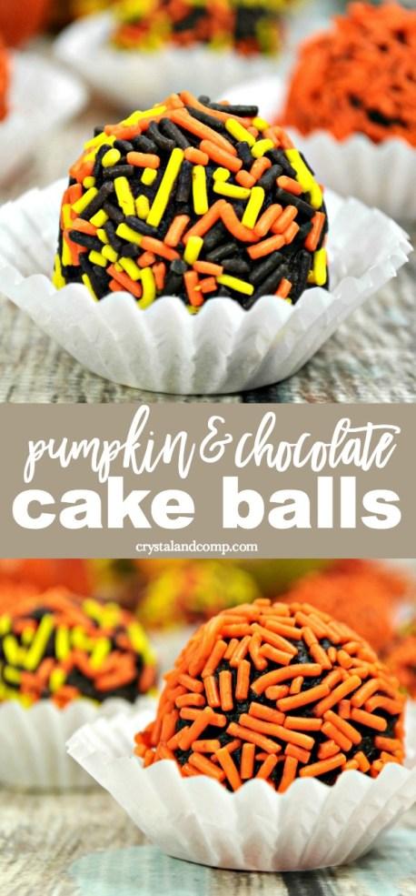 pumpkin chocolate cake balls